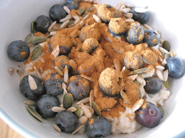 Healthy porridge with seeds and blueberries