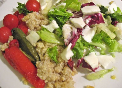 Quinoa salad with roasted peppers