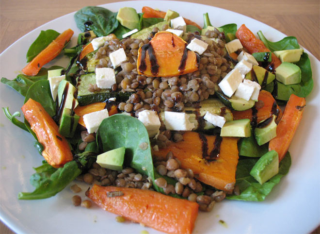 healthy brown lentil salad