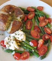 Jacket potato with asparagus salad and poached egg