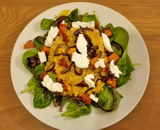 Warm red lentil salad with roasted butternut squash, spinach and goat's cheese