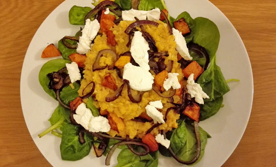 Warm red lentil salad with roasted butternut squash, spinach and goat ...