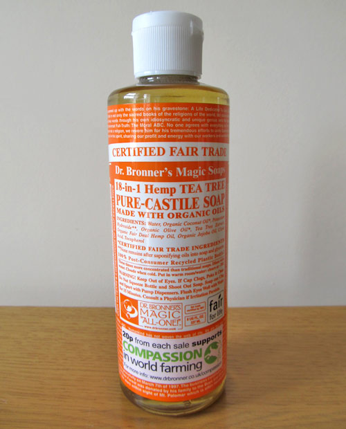 Dr Bronner's tea tree liquid soap