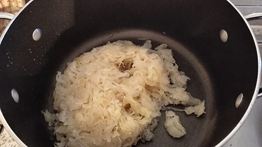 Sauerkraut in a big saucepan