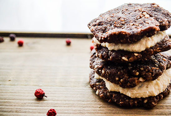 raw cookie with cashew cream filling