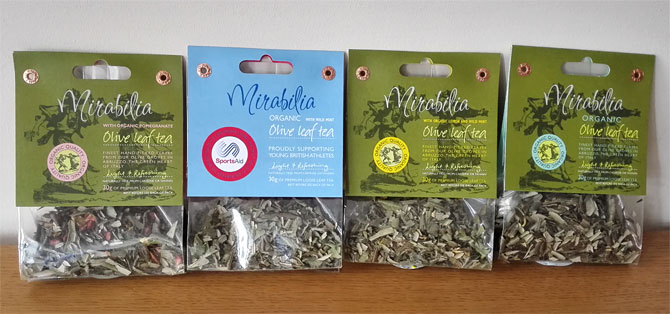 organic olive leaf tea flavours from Mirabilia