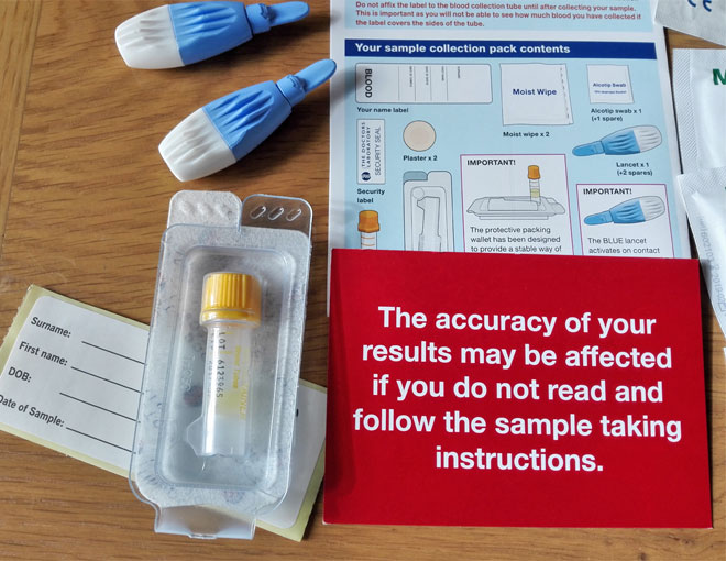blood test kit: lancets and collection device