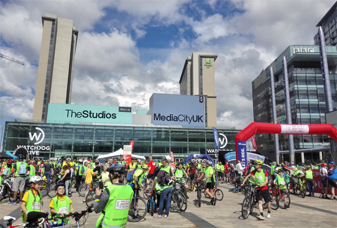 the hsbc uk city ride cyclists in media city