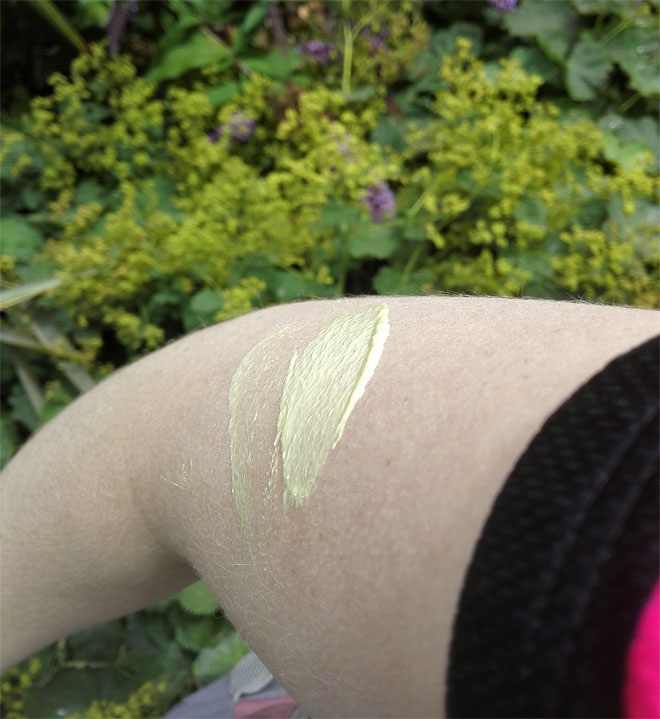 odylique sunscreen texture (on my arm)