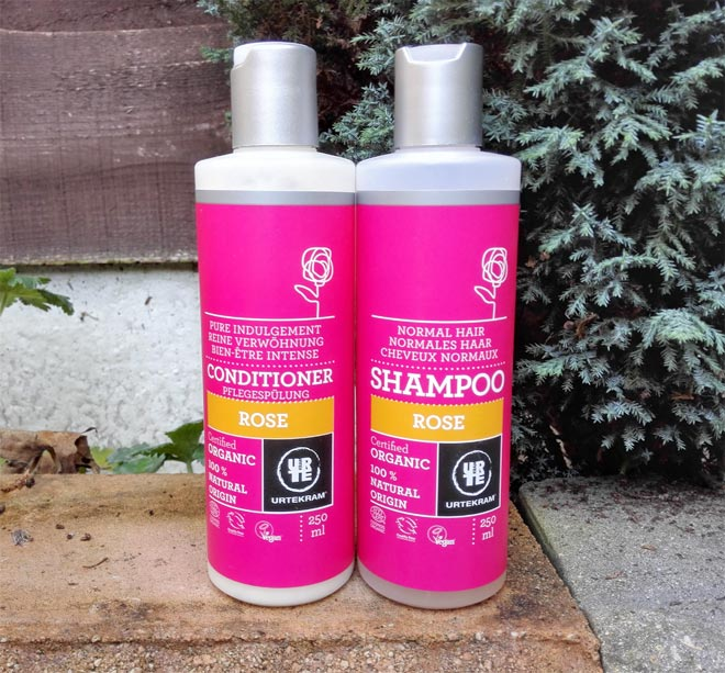 urtekram rose organic shampoo and conditioner