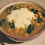 Chickpeas soup with spinach
