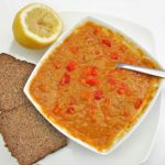 Red lentil soup with carrots and peppers