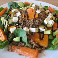 Brown lentil salad with roasted veg