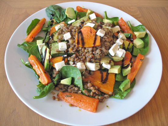 Brown lentil salad