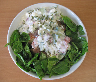 Terrific Jacket Potato With Cottage Cheese Salad And Spinach Interior Design Ideas Gentotryabchikinfo