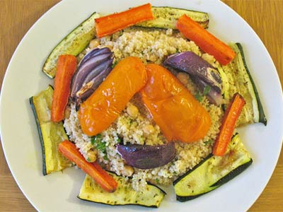Wholewheat couscous with chickpeas and roasted veg