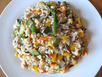 Vegetarian brown rice with chickpeas