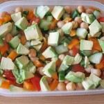 Cold chickpea salad with garlicky yoghurt sauce