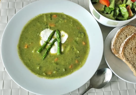 Asparagus, broccoli and sweet potato soup
