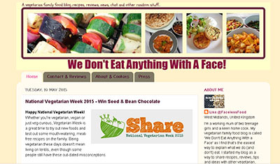 We Don't Eat Anything With a Face on vegetarian blog