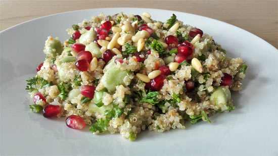 Herby quinoa salad with broad beans and pomegranate seeds