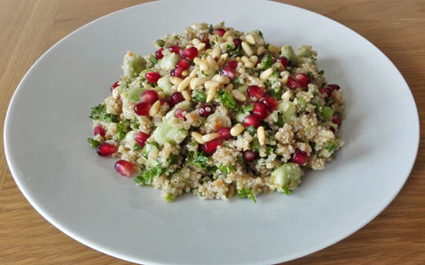 Herby quinoa salad with pomegranate seeds