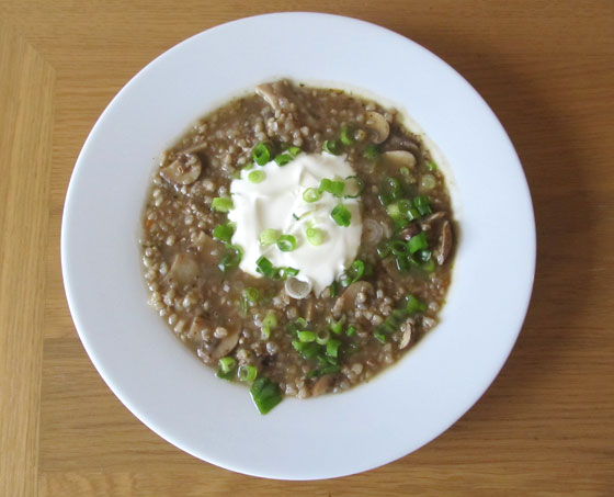Buckwheat and mushroom soup