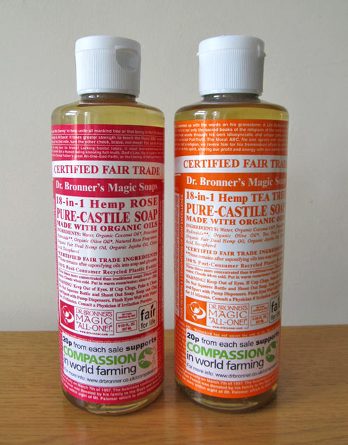 Dr. Bronner's Magic Soaps - Organic cruelty-free muti-purpose liquid soaps (Review)
