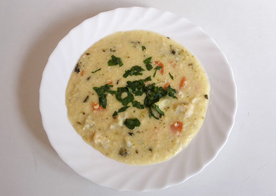 Millet and vegetable soup, gluten-free