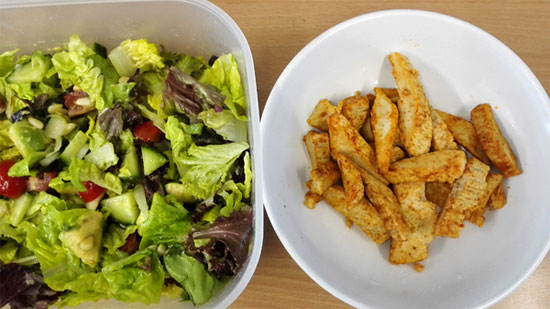 salad and Quorn chicken pieces