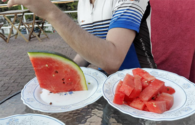 eating watermelon after the ride