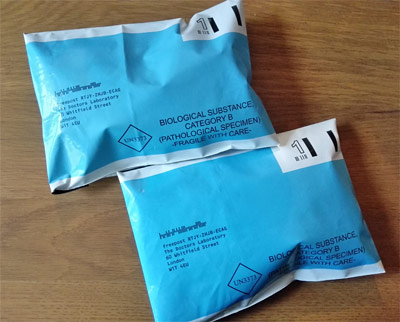 free prepaid envelopes for urine and faecal samples