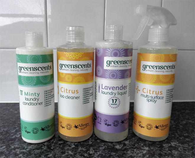 Greenscents natural cleaning products: loo cleaner, multi-purpose spray, laundry liquid and laundry conditioner