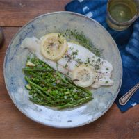 Baked Lemon-Thyme Sole with Zucchini, Asparagus, and Pea Salad