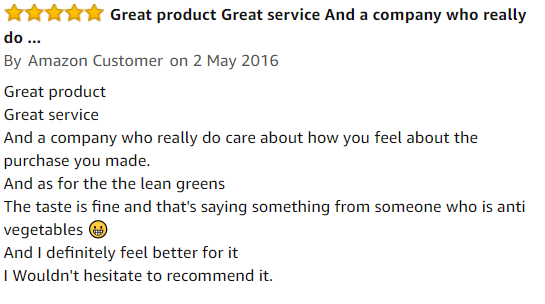 lean green customer review