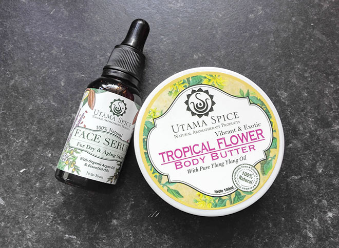 utama spice face serum and body butter