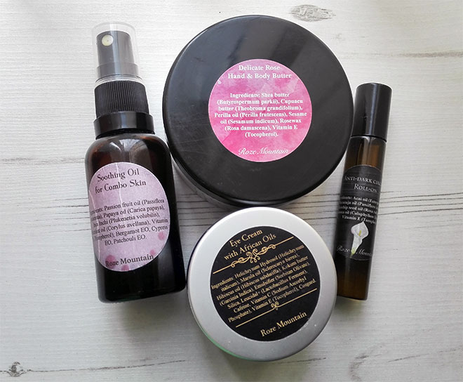 roze mountain natural skincare products