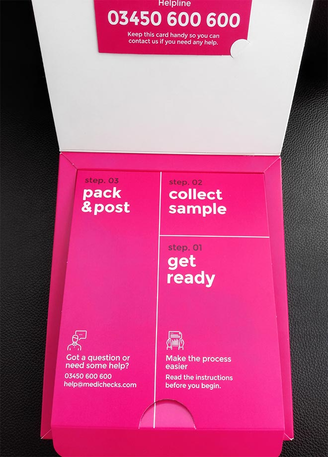 medichecks test kit box