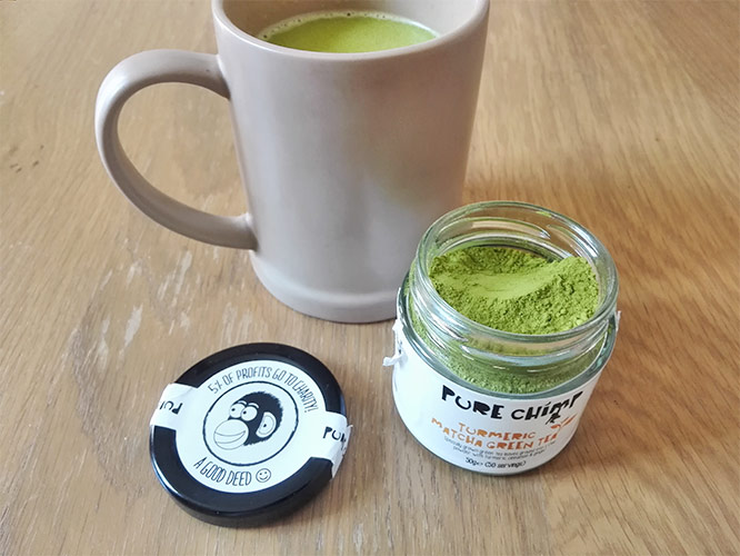 healthy matcha latte with pure chimp turmeric matcha powder