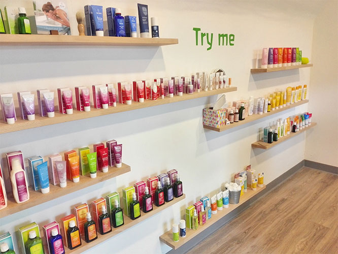 try me section in weleda store in Derbyshire