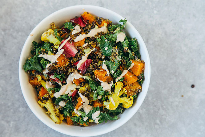 Roasted Sweet Potato Cauliflower Salad by Wallflower Kitchen
