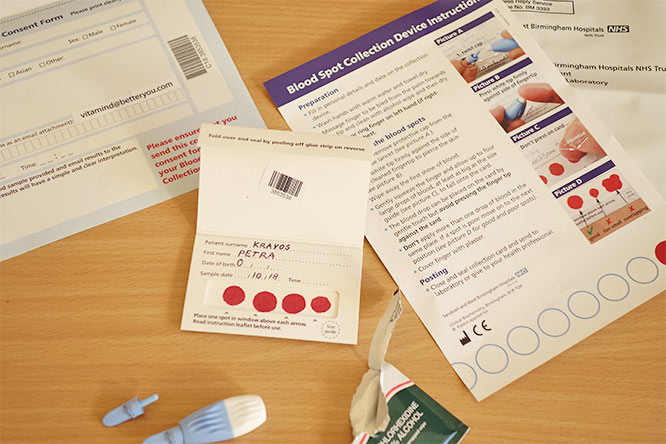 completed vitamin d test - blood collection device