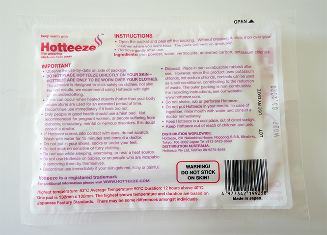 Hotteeze heat pad large - the back of packaging