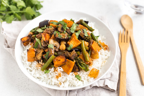 Aubergine and sweet potato Thai red curry