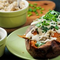 Jacket sweet potato recipe: Sweet potato filled with quinoa and mushrooms