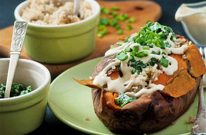 Baked Sweet Potatoes with healthy filling