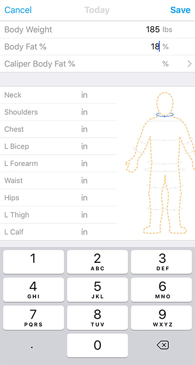 Caliber Fitness training app - measurements screen
