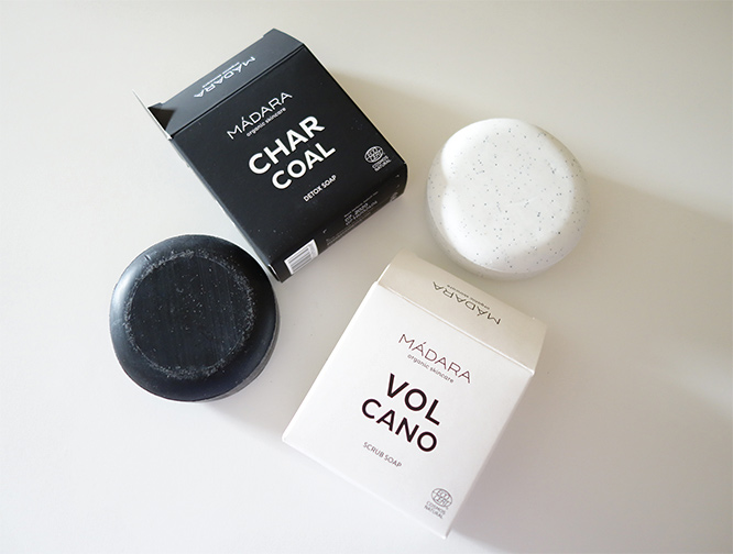 Madara natural soap bars: Charcoal Detox Soap and Volcano Scrub Soap