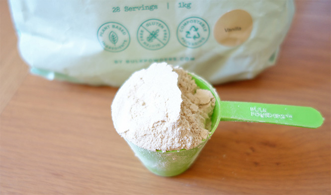 vegan protein powder - a scoop