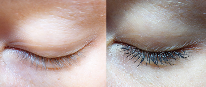 before and after inika mascara - right eye